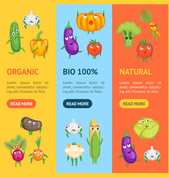 cartoon fresh healthy vegetables characters banner vector image