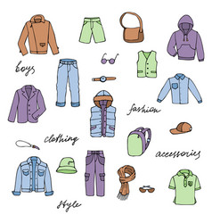 childish boy clothes and lettering doodle set vector image