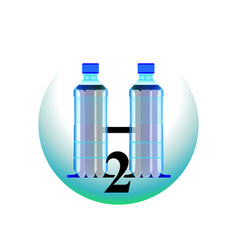 clean water two bottles h2o logo vector image