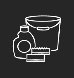 Cleaning supplies chalk white icon on black vector