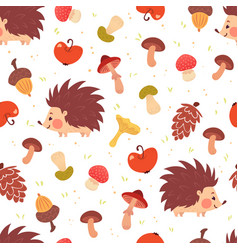 Cute autumn seamless pattern with hedgehogs vector
