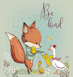 cute fox with ducks vector image