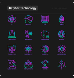cyber technology thin line icons set ai virtual vector image