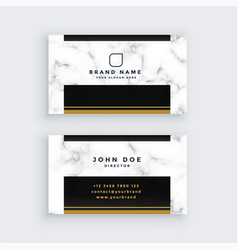 elegant black and gold marble business card design vector image