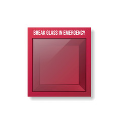 empty emergency box red box with glass front vector image