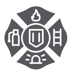 fire emblem glyph icon symbol and firefighter vector image