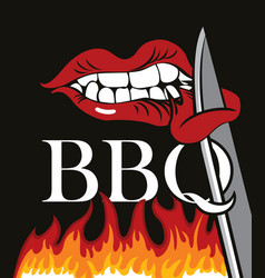 Flat with flames and words bbq vector
