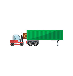 forklift loading freight truck isolated icon vector image
