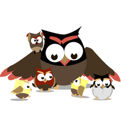 Funny owls mom and little chicks around her vector