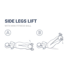 Girl doing side legs lifts with medicine ball home vector