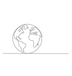 globe one line drawing in line style vector image