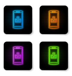 glowing neon smartphone with download icon vector image