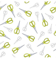 green scissors seamless pattern on white vector image