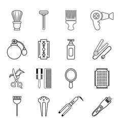 Hairdresser icons set outline style vector