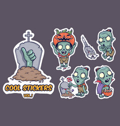 halloween stickers with zombie vector image