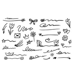 Hand-drawn emphasis element doodle set on white vector