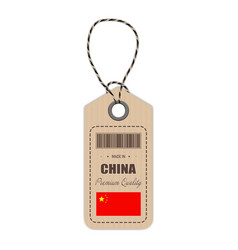 hang tag made in china with flag icon isolated on vector image