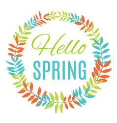 Hello spring greeting card wreath vector