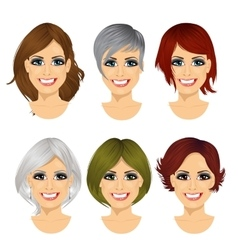 Isolated set middle aged woman avatar vector