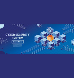 isometric cyber security concept data protection vector image