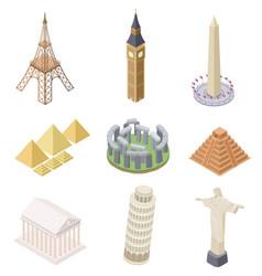 Isometric landmark famous building travel vector