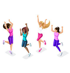 isometric set of female athletes jumping running vector image