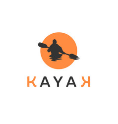 Kayak logo inspirations with sun background vector