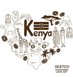 Kenyan symbols in heart shape concept vector image