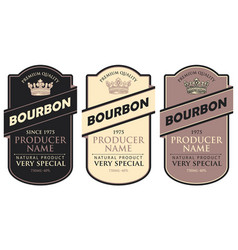 labels for bourbon with inscription and crown vector image