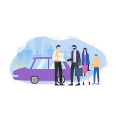 man buy family car automobile seller make contract vector image