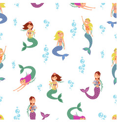 mermaid pattern child mermaids artwork vector image