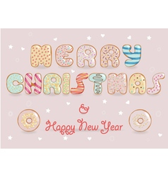 Merry christmas white chocolate donuts font vector