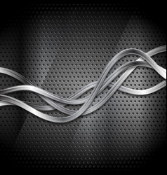 metallic silver waves on dark perforated vector image