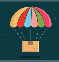 Parachute with package delivery icon vector