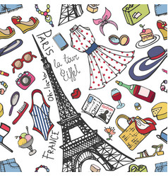 Paris france fashion seamless patternsummer vector