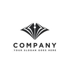 pen head and open book logo icon template vector image