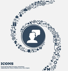 People talking icon in the center Around the many vector image