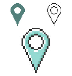 pixel icon location in three variants fully vector image