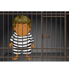 Prisoner being locked in the prison vector