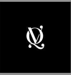 Q v letter logo creative design on black color vector