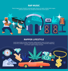 Rapper lifestyle horizontal banners vector