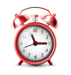 Realistic icon ringing alarm clock isolated vector