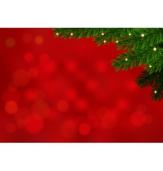 Red background with fir branch and sparkles vector