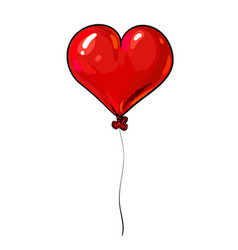 red balloon in shape heart valentines day vector image