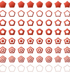 Red pentagon shape polygon icon set vector