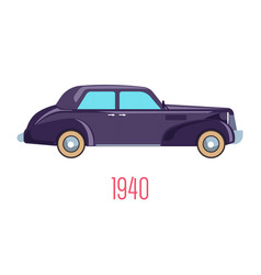 Retro car 1940 vintage vehicle isolated icon vector