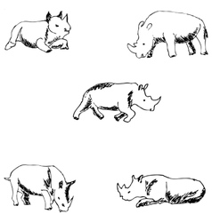 Rhinos A sketch by hand Pencil drawing vector image
