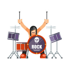 rock musitian with long hair plays drums with vector image