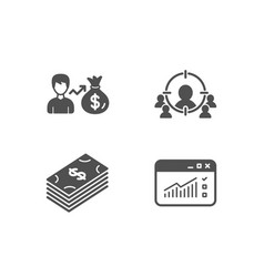 sallary dollar and business targeting icons web vector image