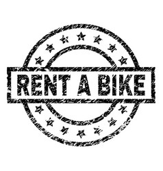 Scratched textured rent a bike stamp seal vector